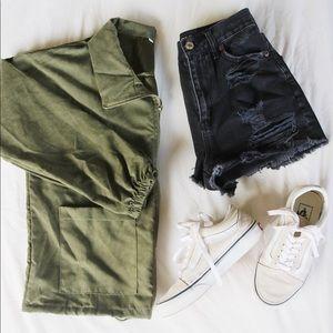 Zip Up drawstring utility jacket; army green